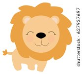cute little lion in cartoon... | Shutterstock .eps vector #627937697