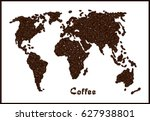 world map made from coffee... | Shutterstock .eps vector #627938801