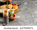 breakfast concept with... | Shutterstock . vector #627939071