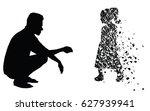 silhouette vector of sad man... | Shutterstock .eps vector #627939941