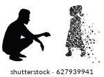 silhouette vector of sad man... | Shutterstock .eps vector #627939941