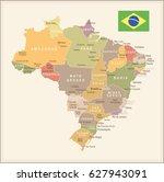 brazil map vector vintage | Shutterstock .eps vector #627943091