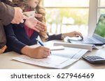 business team hands at work... | Shutterstock . vector #627946469