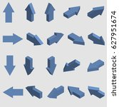 isometric arrows. set of 3d... | Shutterstock .eps vector #627951674