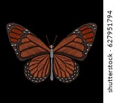 embroidery butterfly on black... | Shutterstock .eps vector #627951794