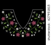embroidery neck line pattern... | Shutterstock .eps vector #627951815