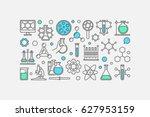 chemistry concept banner  ... | Shutterstock .eps vector #627953159