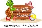 summer holiday with cartoon... | Shutterstock .eps vector #627953669