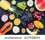 top view assortment set...   Shutterstock . vector #627958091