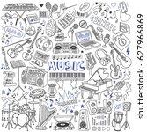 music doodles set. musical... | Shutterstock .eps vector #627966869