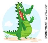 cute crocodile or dinosaur... | Shutterstock .eps vector #627969359