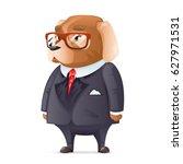dog boss fashionable business... | Shutterstock .eps vector #627971531