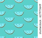watermelon hand drawn seamless... | Shutterstock .eps vector #627973649