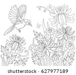 coloring book page with bird... | Shutterstock .eps vector #627977189