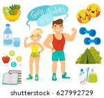 concept of healthy lifestyle ... | Shutterstock .eps vector #627992729