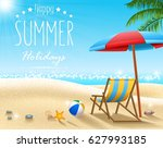 summer beach background | Shutterstock .eps vector #627993185
