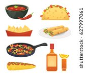 mexican cuisine cartoon dishes... | Shutterstock .eps vector #627997061