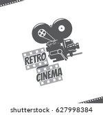 retro video camera cinema icon   Shutterstock .eps vector #627998384