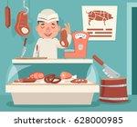 meat shop counter butcher... | Shutterstock .eps vector #628000985