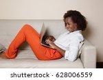 happy african american woman... | Shutterstock . vector #628006559