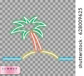 palm tree on the sea neon... | Shutterstock .eps vector #628009625