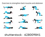 exercises to strengthen back... | Shutterstock .eps vector #628009841