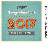 retro 2017 graduation card or... | Shutterstock .eps vector #628010381