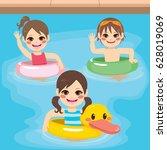 three cute little children with ... | Shutterstock .eps vector #628019069