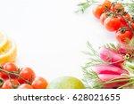 orange lime lemon radish... | Shutterstock . vector #628021655