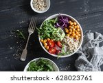quinoa and spicy chickpea... | Shutterstock . vector #628023761