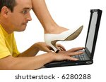 Woman stepping on man's hand, warning him to stop working - isolated - stock photo