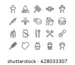 barbecue. set of outline vector ... | Shutterstock .eps vector #628033307