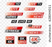 news and tv interface labels  | Shutterstock .eps vector #628044011