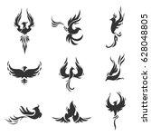 phoenix bird stylized... | Shutterstock .eps vector #628048805