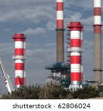 Increment works on a petrol refinery unity. - stock photo