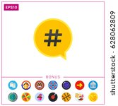 hashtag symbol in dialogue... | Shutterstock .eps vector #628062809