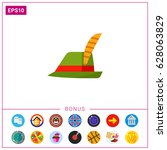 green tirol hat vector icon | Shutterstock .eps vector #628063829