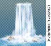 realistic vector waterfall with ... | Shutterstock .eps vector #628064675