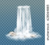 realistic vector waterfall with ... | Shutterstock .eps vector #628064885