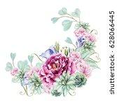 bright watercolor wedding... | Shutterstock . vector #628066445