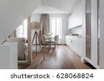 white attic apartment interior... | Shutterstock . vector #628068824