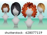 female short hair wigs in...   Shutterstock .eps vector #628077119