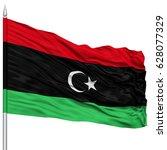 libiya flag on flagpole  ... | Shutterstock . vector #628077329