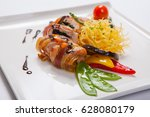 delicious chicken rolls with... | Shutterstock . vector #628080179