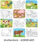 at the farm. set of cute farm... | Shutterstock . vector #628081685