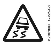 slippery road sign line icon ... | Shutterstock .eps vector #628091609