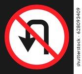 no u turn prohibition sign flat ... | Shutterstock .eps vector #628093409