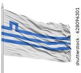 podgorica city flag on flagpole ... | Shutterstock . vector #628096301
