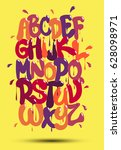 multicolored graffiti font on a ... | Shutterstock .eps vector #628098971