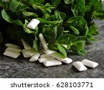 peppermint and chewing gum. | Shutterstock . vector #628103771